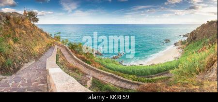 Parghelia, Province of Vibo Valentia, Calabria, Italy. Panoramic view of Michelino's beach - Stock Photo