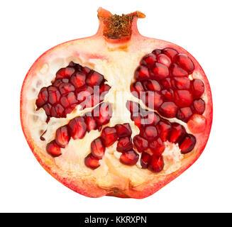 sliced pomegranate path isolated - Stock Photo
