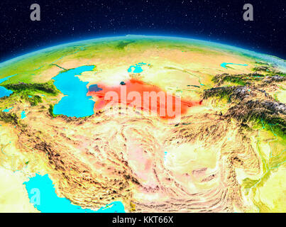 Turkmenistan Highlighted In Red On Physical Map D Illustration - Turkmenistan physical map