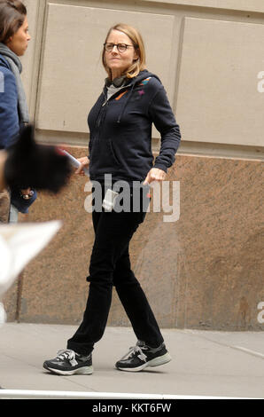 NEW YORK, NY - APRIL 22: Jodie Foster films Jodie Foster's; 'Money Monster' on April 22, 2015 in New York City. - Stock Photo