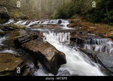 Big Panther Creek is a tributary of the Tallulah River in northern Georgia.  The creek runs generallyeast southeast - Stock Photo