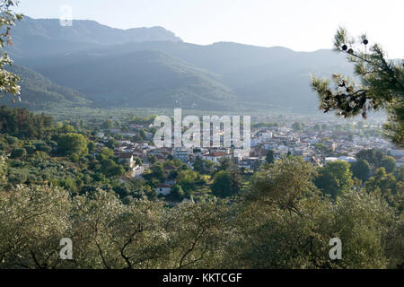 View from the nearest hill of the Thasos Town - Stock Photo