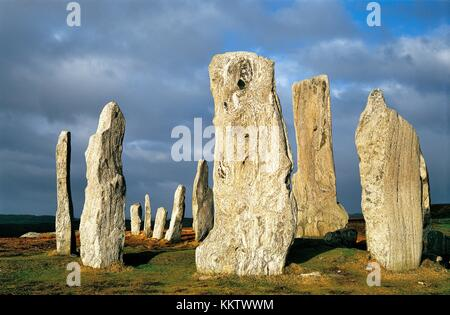 Callanish prehistoric stone circle is over 5000 years old. Scottish Hebrides island of Lewis. Central stones around - Stock Photo