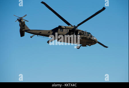 Sikorsky UH-60 Black Hawk Helicopter in flight at Gowen Thunder Airshow on October 14 2017 - Stock Photo