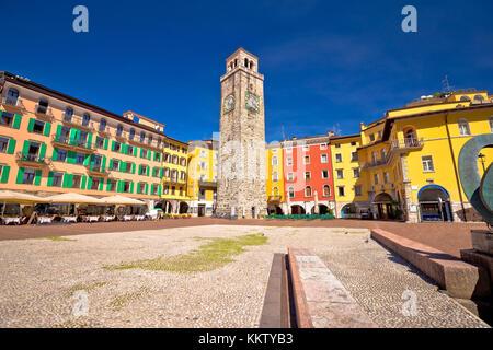 Colorful italian square in Riva del Garda, town on Garda lake, Italy - Stock Photo