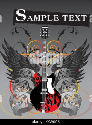 image of a electric guitar with flame pattern surrounded with skulls and wings - Stock Photo