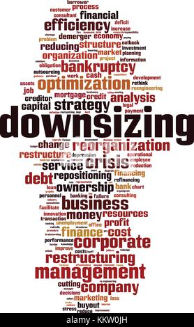 Downsizing word cloud concept. Vector illustration - Stock Photo