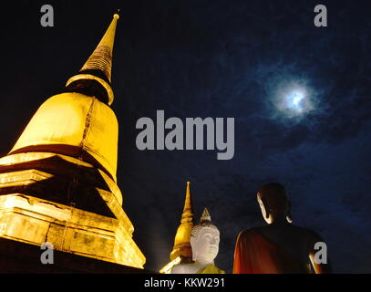 Buddha image in Wat Yai Chai Mongkhon ancient temple in Thailand - Stock Photo