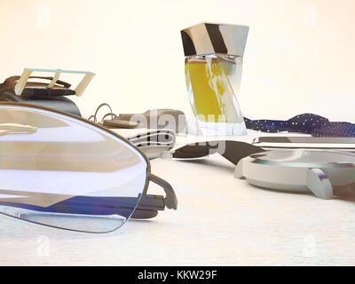 Gentleman kit - men's accessories isolated on wooden background. - Stock Photo