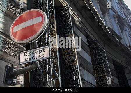 A  No entry for vehicular traffic road sign on a London street. - Stock Photo