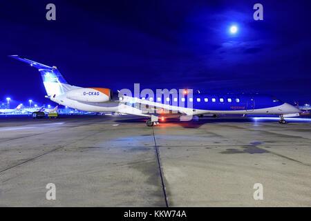 Stuttgart/Germany Oktober 27, 2017: Embaer from Bmi at Stuttgart Airport. - Stock Photo