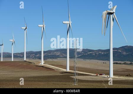 Spain, Andalusia, wind farm on cattle farm between Cadiz and Tarifa, damaged rotor blade at wind turbine - Stock Photo