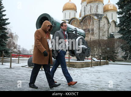 Moscow, Russia. 1st Dec, 2017. Journalists seen ahead of the 2018 FIFA World Cup final draw at the Moscow Kremlin. Credit: Valery Sharifulin/TASS/Alamy Live News Stock Photo