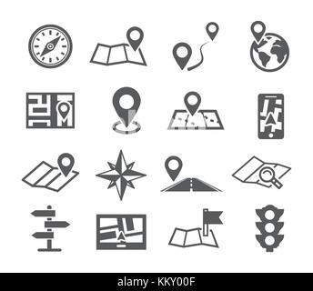 Navigation and Map icons - Stock Photo