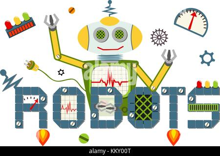 Robots logo text isolated on white background. - Stock Photo