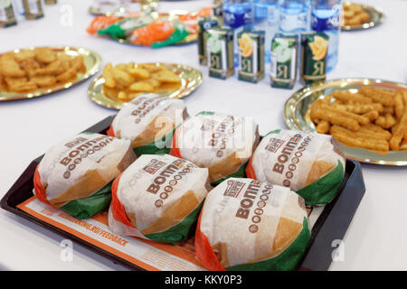 Six Whoppers on a tray in 500th Burger King restaurant in Russia in the day of opening - Stock Photo