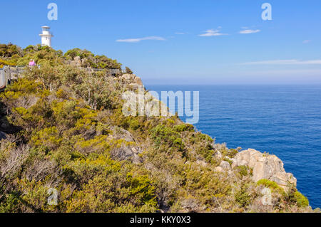 An unmanned, automatic lighthouse in the Freycinet National Park - Cape Tourville, Tasmania, Australia - Stock Photo