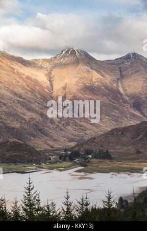 View over the Kintail National Scenic area and Loch Duich in Scotland. - Stock Photo
