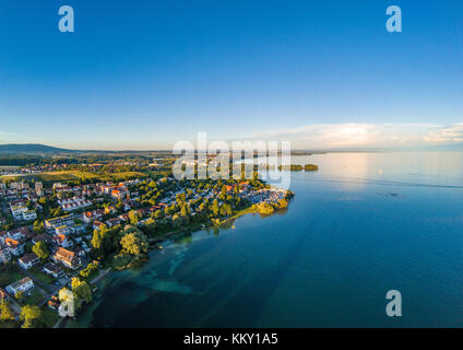 Aerial picture of the landscape of the Lake Constance or Bodensee in Germany - Stock Photo