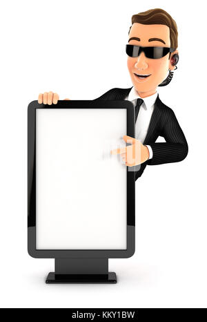 3d security agent pointing to blank billboard, illustration with isolated white background - Stock Photo