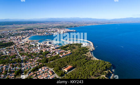Aerial photography of L'Escala city in Spain - Stock Photo