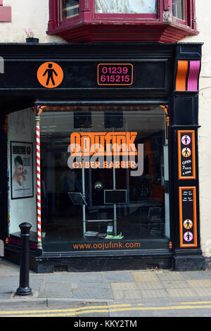 Oojufink Cyber Barber in Cardigan, Ceredigion, Wales, UK - Stock Photo