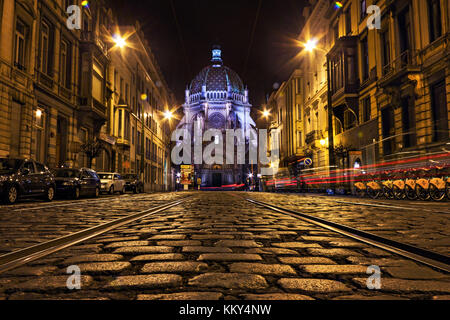 Night street view of the Rue Royale with Sainte-Marie church in Schaerbeek, Brussel, Belgium - Stock Photo
