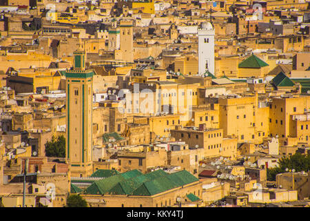 Panoramic view of medina (old town) of Fes, Morocco - Stock Photo