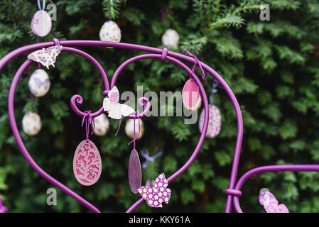 Easter decoration, garden chair, detail, - Stock Photo