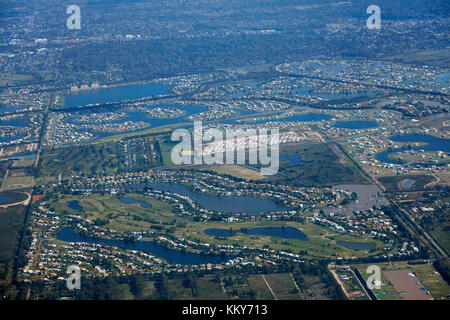 Waterways and houses, Dique Lujan, northern Buenos Aires, Argentina, South America - aerial - Stock Photo