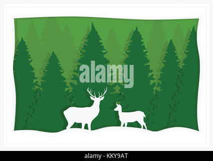 Illustration, greeting card, green spruce and deer. - Stock Photo