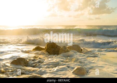 Pefkoulia beach in Lefkada Greece at sunset - Stock Photo