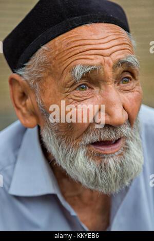 E;edrly man from Uzbekistan, in Kokand, Uzbekistan. - Stock Photo