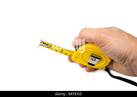 Tape measuring tool meter on the white background - Stock Photo