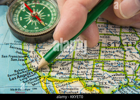 Compass On A Map Pointing At Canada And Planning A Travel - Us map compass