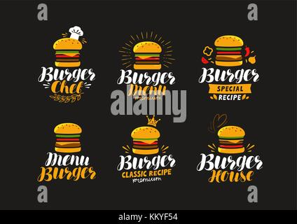 Burger logo or label. Fast food, eating concept. Vector illustration - Stock Photo