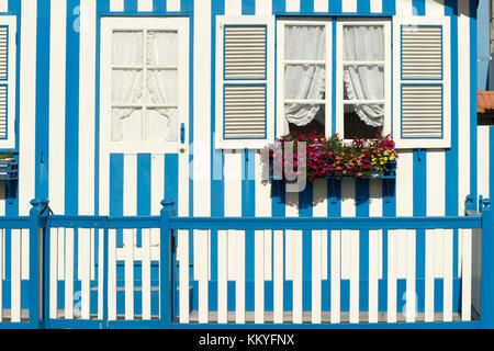 Fisherman's typical striped houses in Costa Nova, Aveiro, Portugal - Stock Photo