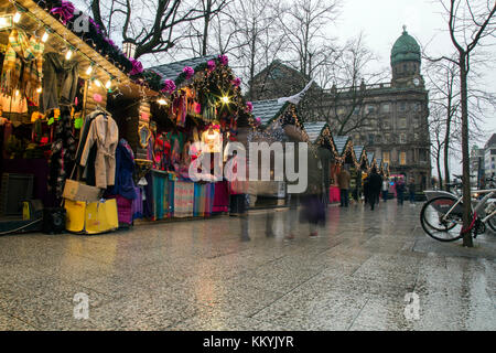 Belfast, Northern Ireland - 20th November 2017 - Christmas market at the city hall. A traditional festive market - Stock Photo