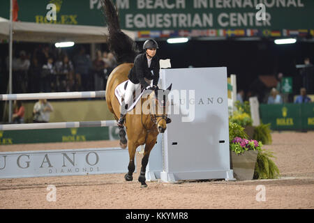 WELLINGTION, FL - FEBRUARY 25:  SATURDAY NIGHT LIGHTS: $380,000 Suncast Grand Prix CSI 5. The Winter Equestrian - Stock Photo