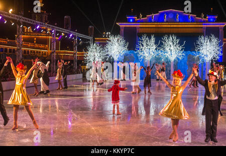 Traditional Christmas show on ice at Liseberg in Gothenburg. The Christmas market at Liseberg amusement park is - Stock Photo