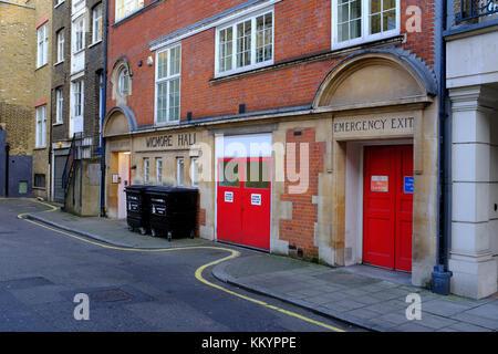 Wigmore Hall Artistes Entrance, Welbeck way, Marylebone, London UK - Stock Photo