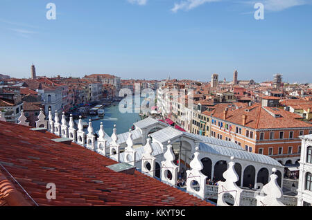 View from new roof terrace of Fontego (Fondaco) dei Tedeschi, adjacent to the Rialto bridge, - Stock Photo