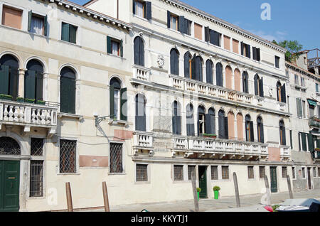 Ca Rizzi and Apartment building, on the Fondamenta de Ca' Rizzi, Venice, Italy - Stock Photo