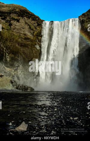 Skogafoss - Waterfall Iceland - Stock Photo