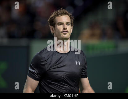 KEY BISCAYNE, FL - MARCH 26:  ANDY MURRAY on Day 6 of the Miami Open presented by Itau at Crandon Park Tennis Center - Stock Photo