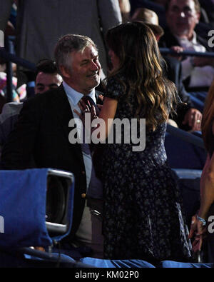NEW YORK, NY - AUGUST 29:  Alec Baldwin, Hilaria Baldwin during opening ceremonies on Day One of the 2016 US Open - Stock Photo