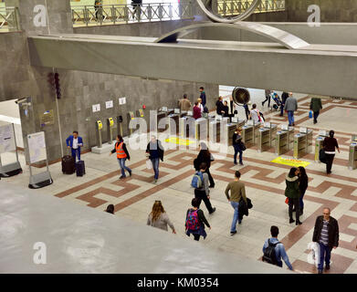 Inside Metro train station at Monastiraki, Plaka district, central Athens, Greece, with automatic ticket barriers - Stock Photo