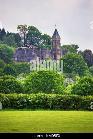 Brecknock, UK - May 6, 2011: Old castle in Brecon town at Brecknockshire, in Brecon Beacons of Mid Wales. It is - Stock Photo