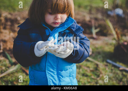 A little girl looking at dirt in her glove covered hands - Stock Photo