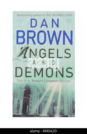 The book Angels and Demons by Dan Brown - Stock Photo